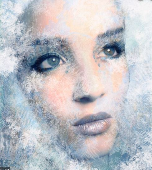Woman with ice crystals on her face pretty.  Freezing your body.