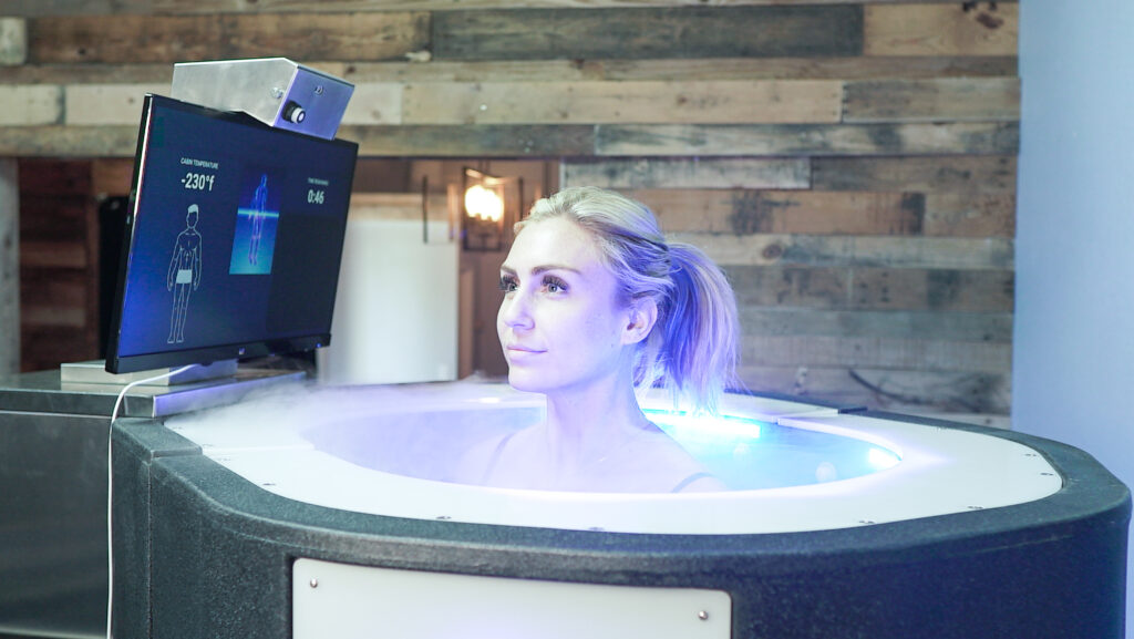 Woman after strength training in cryosauna